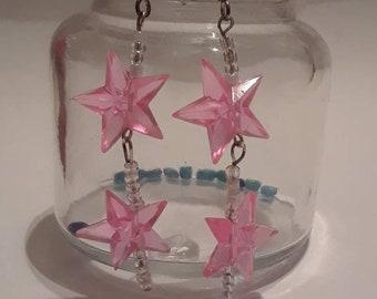 Pink Star Dangle Earrings