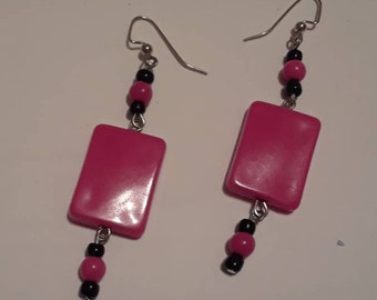 Pink and Black Rectangle Dangle Earrings