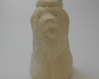 Shaggy Dog Paintable Miniature Vintage Holiday Ornament Sheep Dog