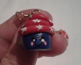 Patriotic Cupcake Earrings