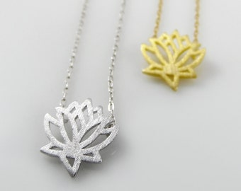 Lotus flower necklace, silver lotus, gold lotus, yoga necklace