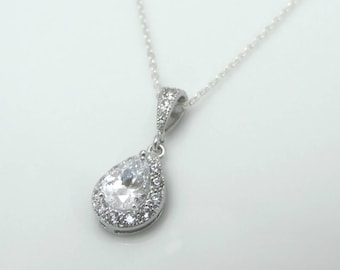 Wedding jewelry, teardrop pendant necklace, CZ pendant necklace, bridesmaid gift