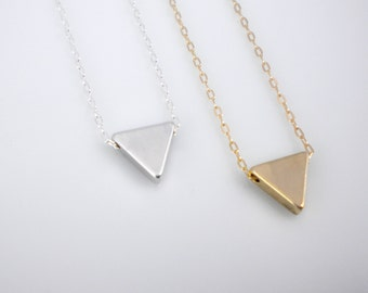 Tiny upside down triangle necklace, arrow, gold triangle, silver triangle, geometric minimal necklace for layering
