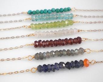 Gemstone bar necklace, layering birthstone necklace, 14k gold filled gemstone necklace
