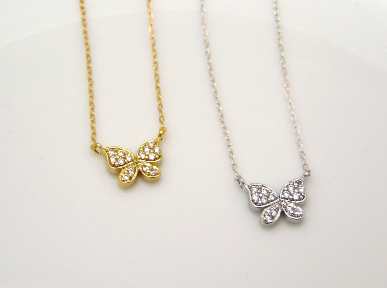 3f577aed6ed44 Gold butterfly necklace, silver butterfly necklace, cz butterfly pendant