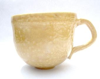 SUMMER SALE - Honey Mug - Porcelain Golden Cup with Texture Glaze