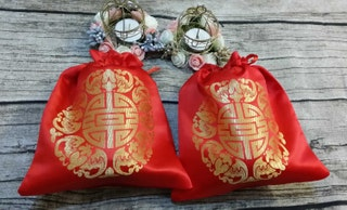 2 Double Happiness Bags ,Wedding Favor Bags, Gift Drawstring Bags