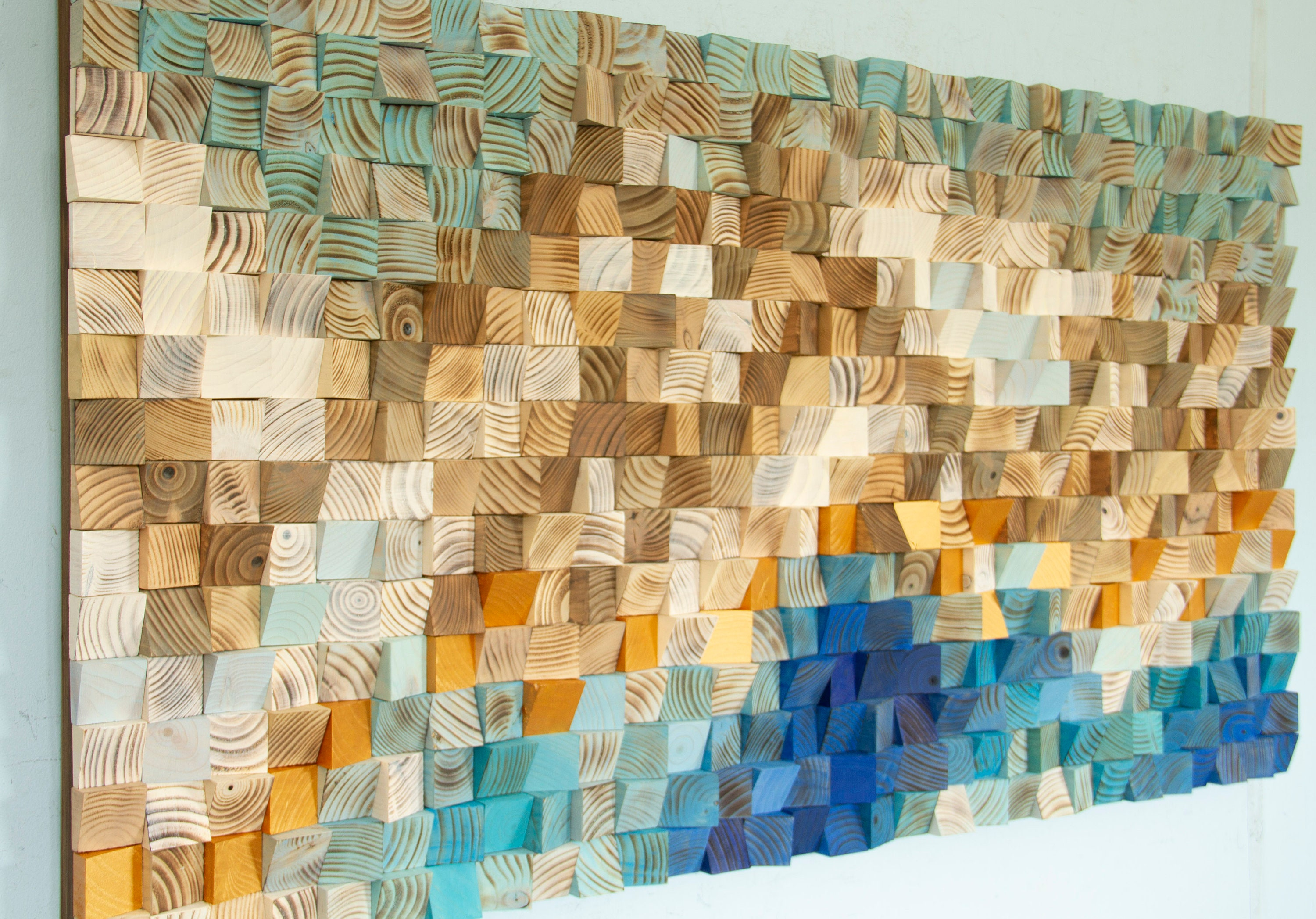 Mountain Gold, Wood Wall Art - Alps Landscape painting, 3D