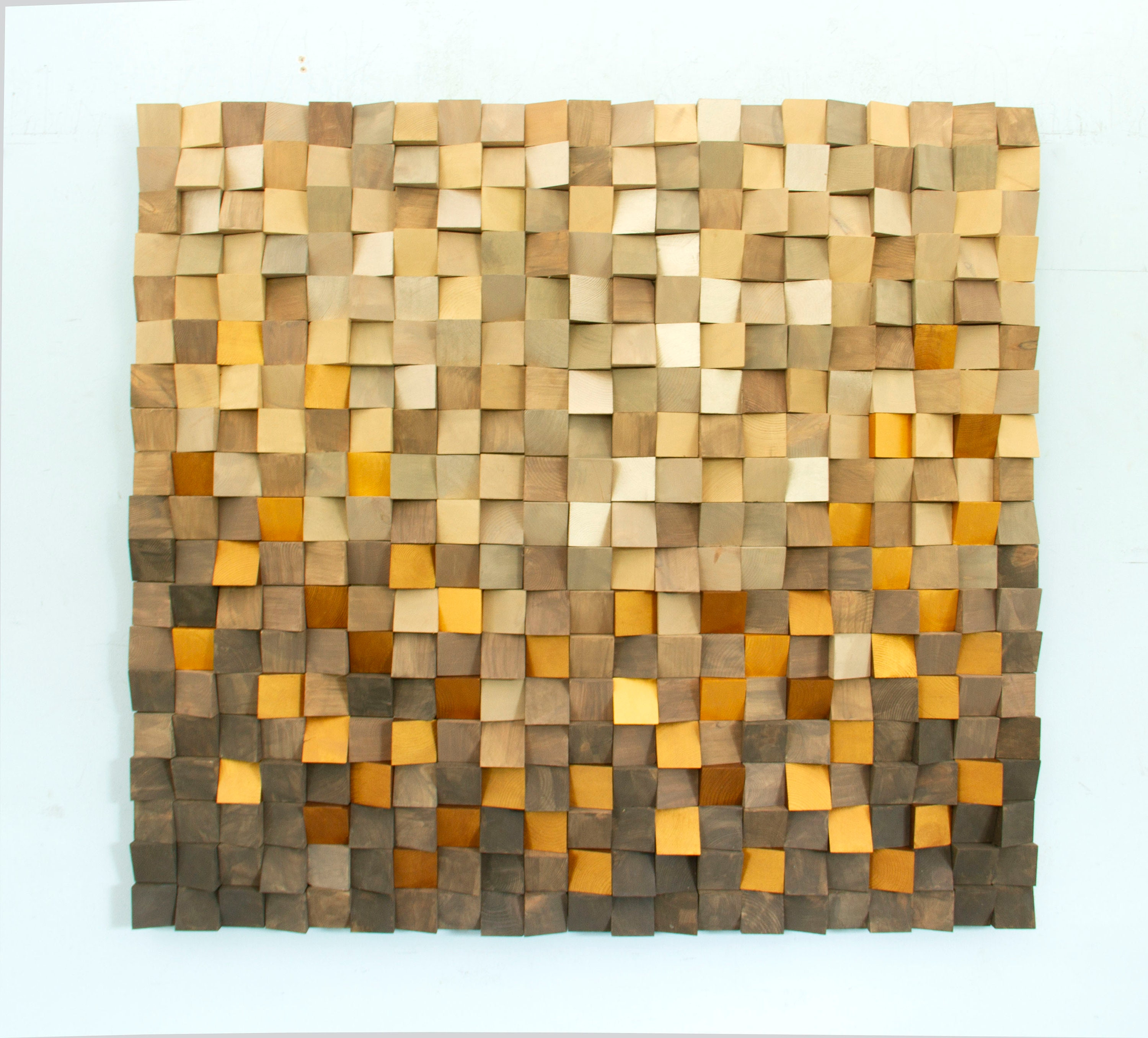 Autumn Wood wall Art - Gold Wood Art - sound diffusor - Reclaimed ...