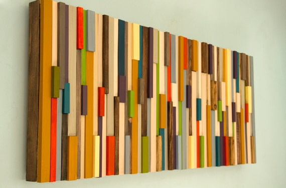 Modern Large wall art reclaimed wood art sculpture painted