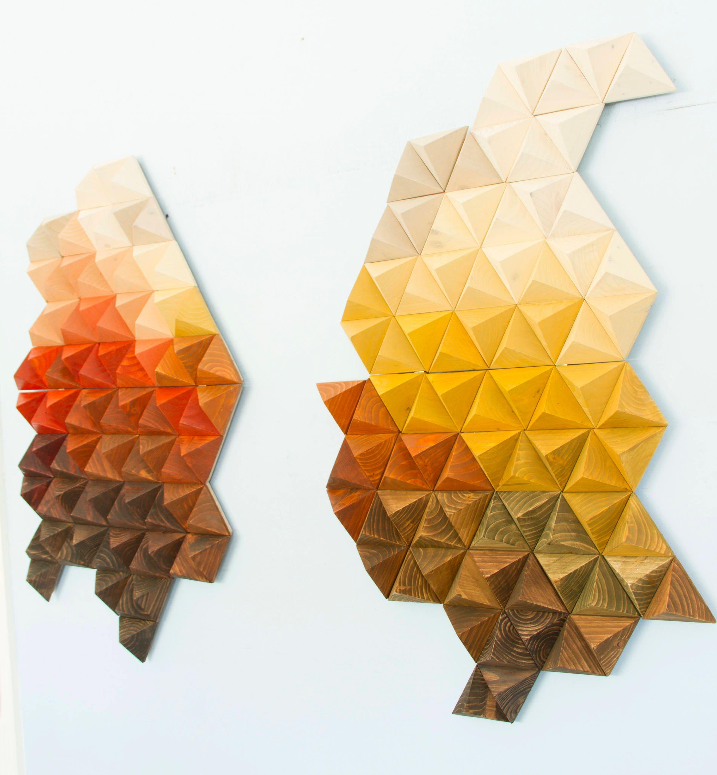 Wood sculpture wall art, geometric wood art, unique wood art by ...