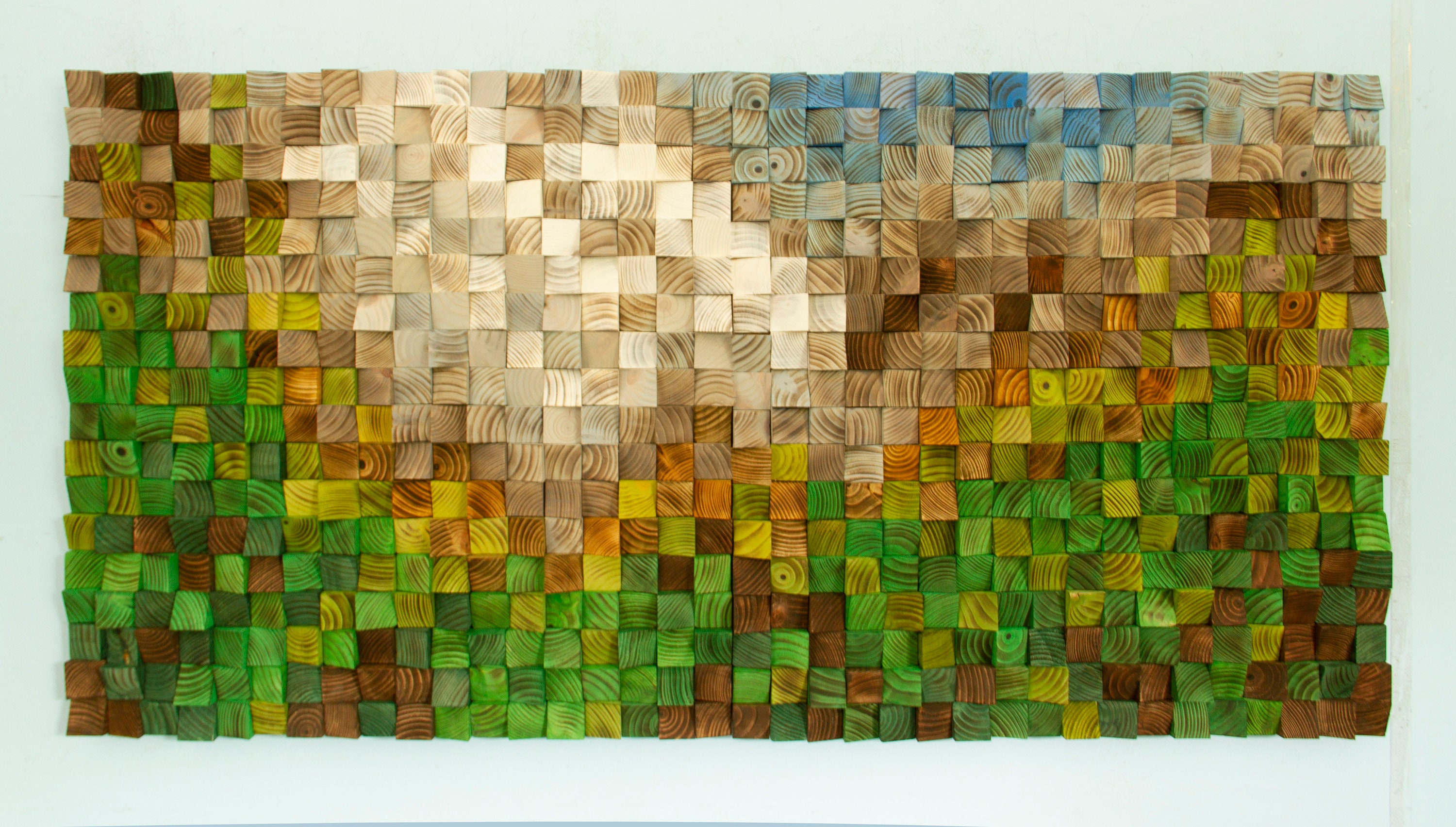 Wood Wall Art, mosaic wood art, landscape painting on wood