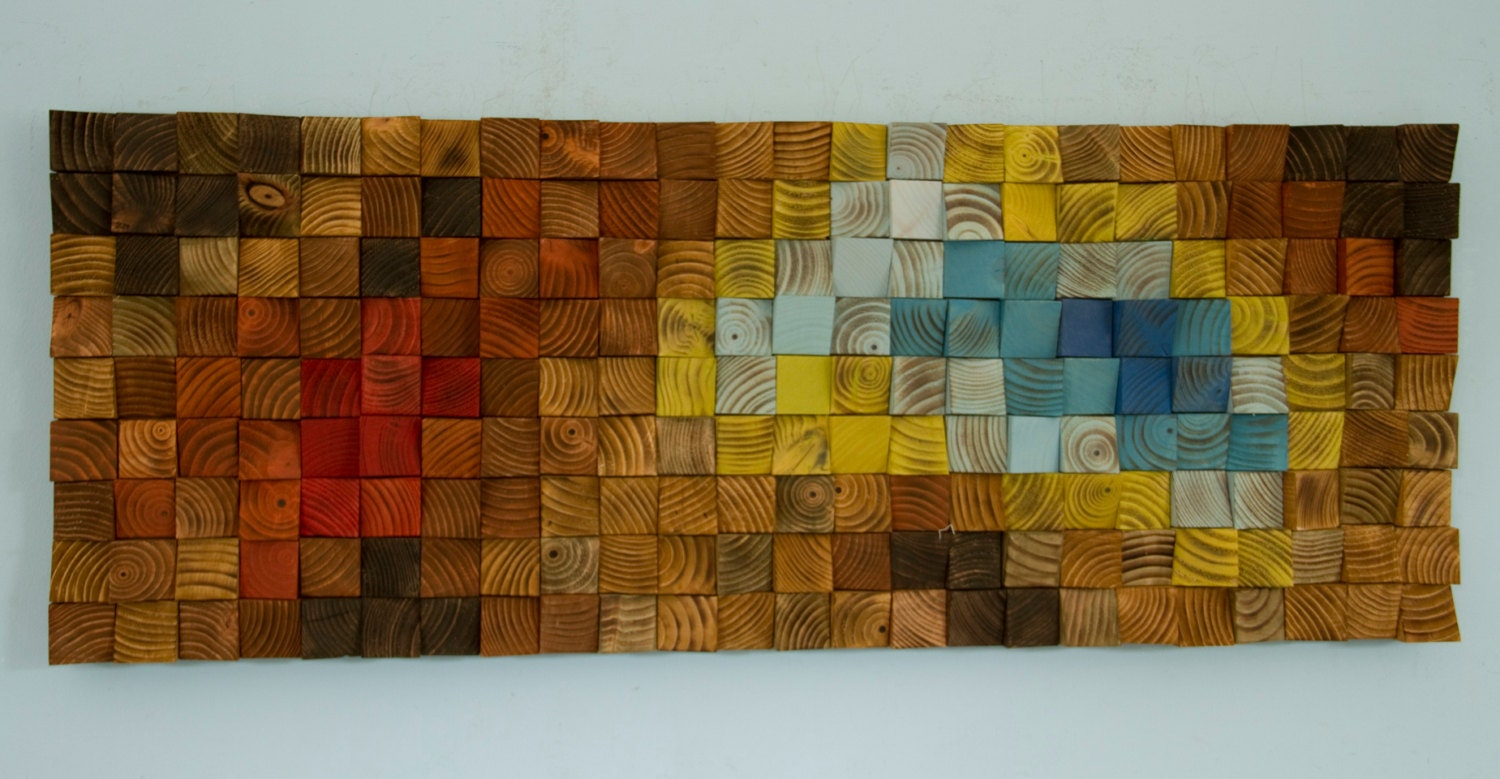 Wood Wall Art Reclaimed Wood Art Mosaic The Northern Lights