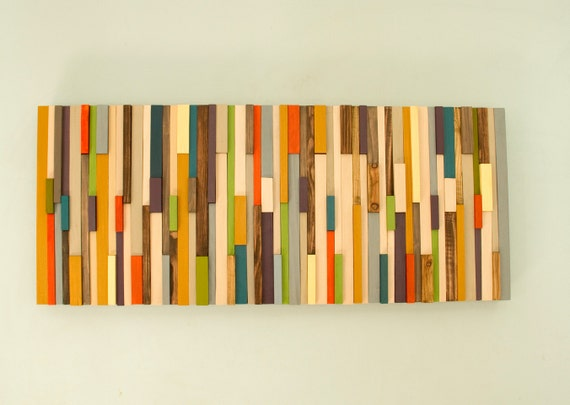 Mid Century wall art reclaimed wood art sculpture SALE