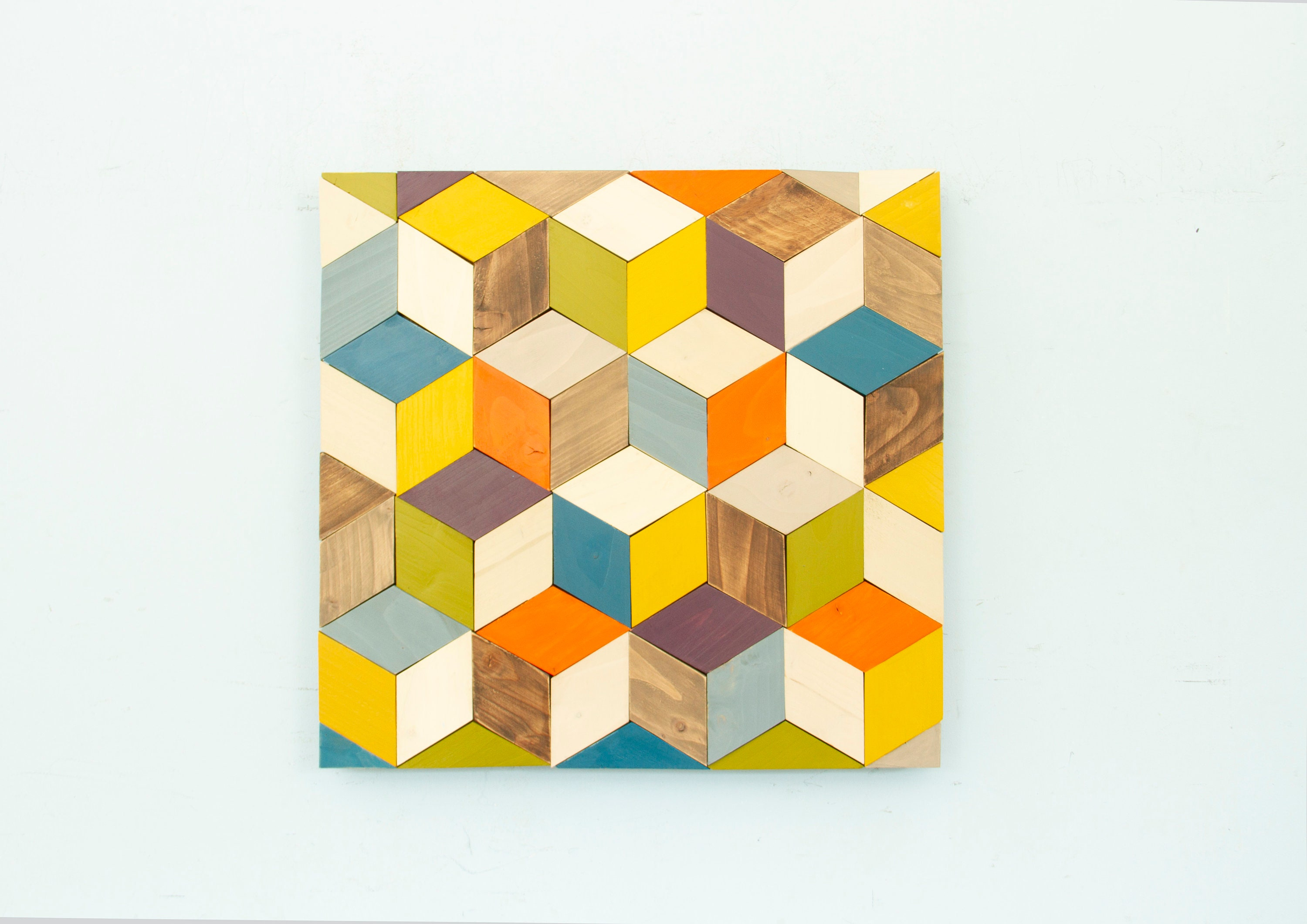 Geometric Wood Wall Art, Cubes Art, 2018 Trend, Mid Century Wall Art ...