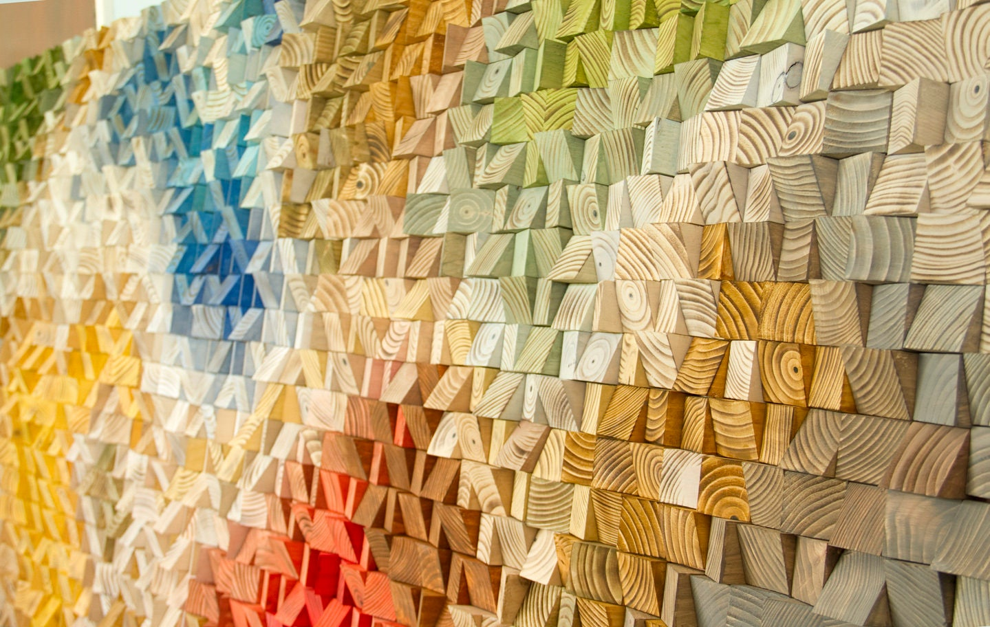 Large Wood Sculpture, Wood Wall Art, 2018 colour trend, geometric art