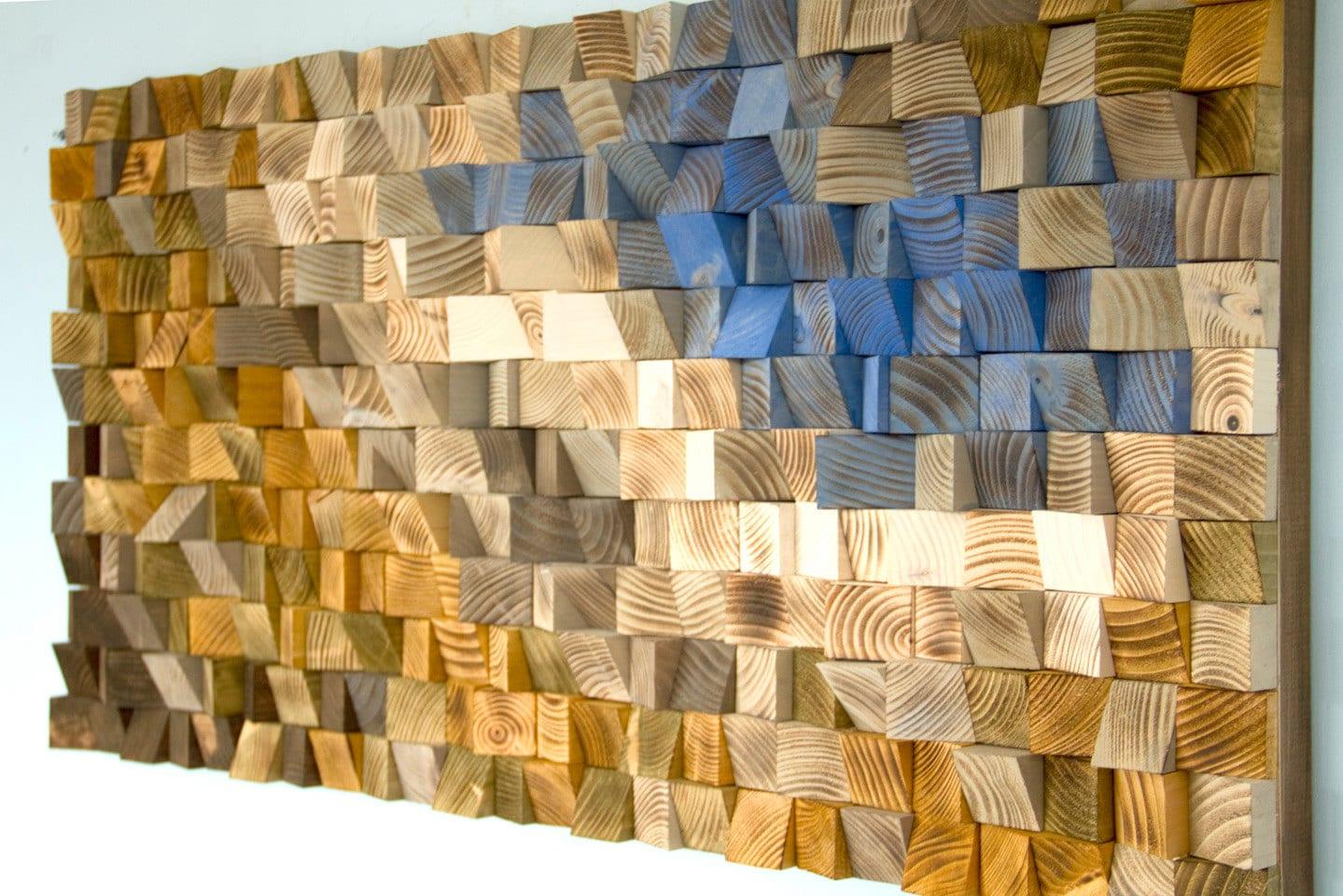 Reclaimed Wood wall Art, wood mosaic, geometric art, wood wall art ...