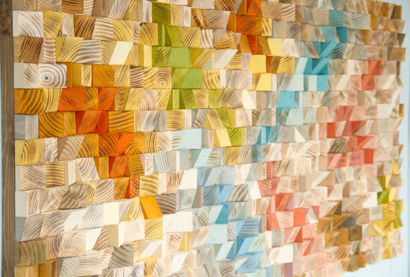 Wood Wall Art, geometric wood art, SAle, mosaic, mid century colours ...