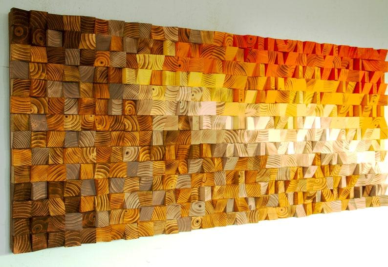 Wood Wall Art Orange White Art Reclaimed 3d Wood Mosaic Modern Wood Art Abstract Painting