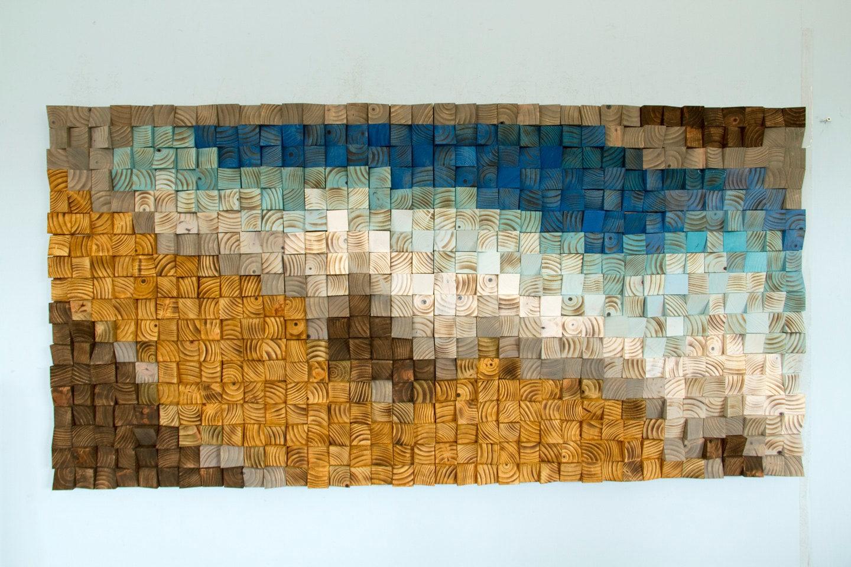 Reclaimed Wood Wall Art Wood Mosaic Geometric Art Wood Wall Art Fighting River