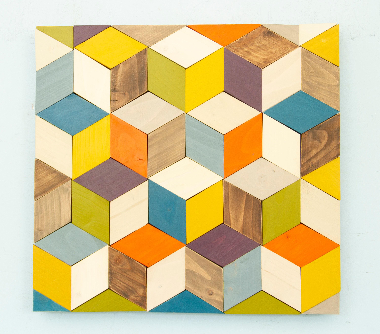 Geometric Wood Wall Art, Cubes Art, 2018 Trend, Mid Century Wall Art ...