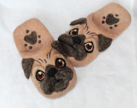 Felted  slippers/ unisex slippers/ slippers/ dog lovers gift/ felted slippers/ wool slippers/ dog slippers/ Pug