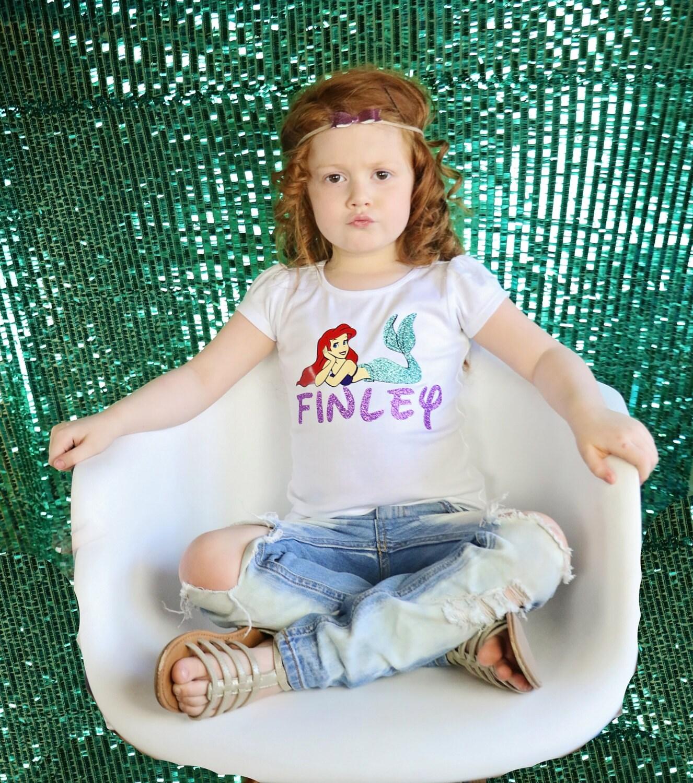 Princess Ariel mermaid T-shirt personalised girls//kids//children//toddler