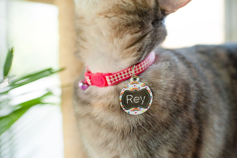 Custom Personalized Pet ID Tag for Dog and Cat Collars DOG BONE PEACE