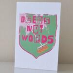 Deeds not Words Broom Pink Card (blank) and envelope