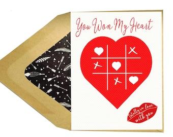 Valentines You Won MY Heart Card - Love Card, Funny, Games, Boyfriend, Girlfriend, Husband, Wife, Dating
