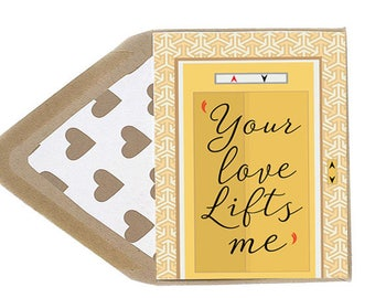 Valentines Your Love Lifts Me Card - Love Card, Elevator,  Funny, Dating, Anniversary