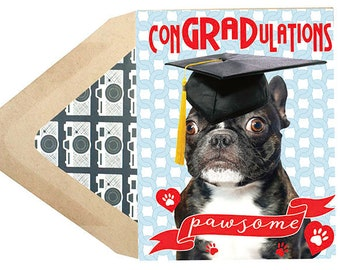 Funny Dog Graduation Card - Congratulations , School, Frenchie, French Bulldog, Dog, Animal, Pet, Photography