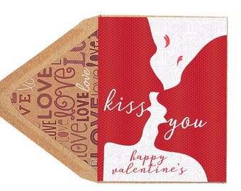 Valentines Kiss You Card - Love Card, Kiss, Kissing, Heart, Red, Valentines Day, Boyfriend, Girlfriend, Husband, Wife, Dating