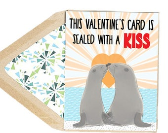 Valentines Sealed With A Kiss Card - Love Card, Seal, Animal,  Funny, Dating, Anniversary