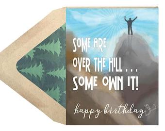 Birthday Over The Hill Card - 50th Birthday, 60th Birthday, Milestone Birthday, Card, Funny, Humor, Outdoors