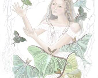Beautiful Luna Moths, Beautiful girl, Original Painting, Archival Print, Home Decor, Wall Decor, Pastel Colors