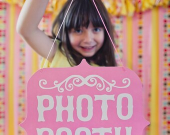 Pink and White Photo Booth Sign (Custom Colors Available)