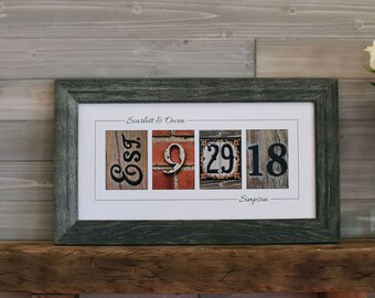 Personalized Wedding Gift, Custom Wedding Gift for Couples, Established Date Sign, Gift for Bride, Wedding Date Art, Wedding Shower Gift