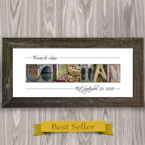 Unique Wedding Gift Idea Framed Last Name Gift Alphabet Etsy