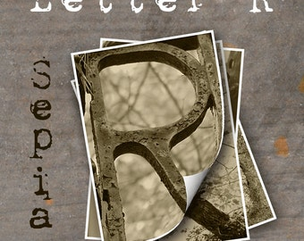 LETTER R Alphabet Photography LETTERS - Sepia Alphabet Photos