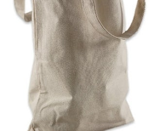 Do-It-Yourself Blank Natural Cotton Canvas Bag / Grocery Bag (14 x 16 x 4 inches) - Customize with paint, stamps and ink, and more
