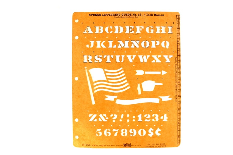 c.1956 Collectible Stencil - 12 Roman Letters and Numbers Sign Lettering Guide Vintage STENSO Stencil Set No.12 in Original Package
