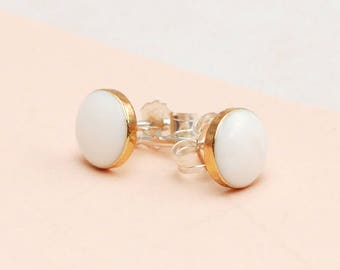 Simple White and Gold Stud earrings