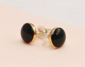 Tiny Black and Gold stud earrings
