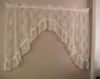 One Pair of Ivory Lace Swag Curtains