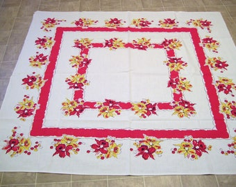Vintage Kitchen Tablecloth, 46 x 52 inches-Country Kitchen