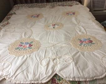 Vintage Crib/Throw Comforter, Crochet and Braid Trim,45x58 inches