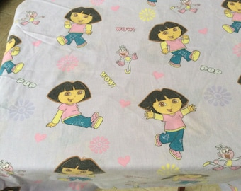 Vintage 'Dora the Explorer' Crib Sheet-Fitted