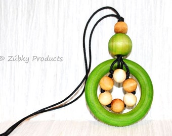 """Natural Green Wooden Teething Necklace for Nursing Breastfeeding Babywearing Mamas """"Spring"""" by Zúbky"""