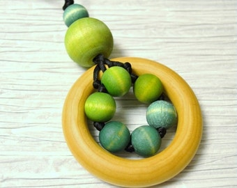 """Natural Sensory Wooden Teething Zúbky Necklace for Nursing Breastfeeding Babywearing Mamas """"Blue Ombre"""""""
